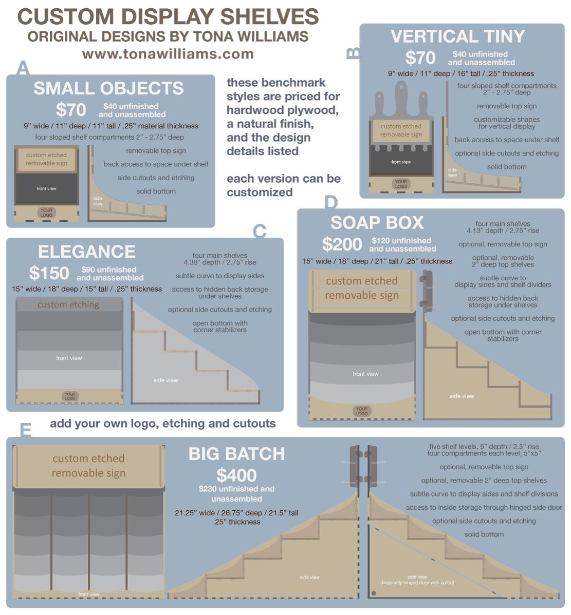 Custom display shelves by Tona Williams - spec sheet of options